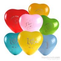 KullanAtMarket I Love You Baskılı Renkli Kalp Balon