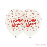 KullanAtMarket I Love You Baskılı Şeffaf Balon