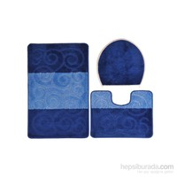 Confetti Şile Üçlü Set Mavi Banyo Halısı