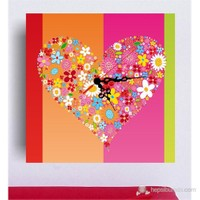 Renkli Kalp Kanvas Tablo Saat