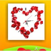 Gül Yaprakları Kalp Kanvas Tablo Saat