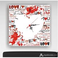 Beyaz Kalp Kanvas Tablo Saat