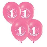Pandoli 25 Adet Happy Birthday 1 Yaş Pembe Balon