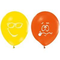 Pandoli 10 Adet Renkli Baskılı Yüz İfadeleri Balon