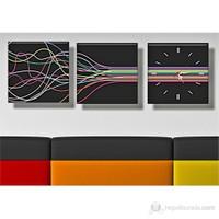 Renkli Işıklar Kanvas Tablo ve Saat