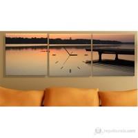 Decobritish Göl 3 Parçalı Tablo Saat