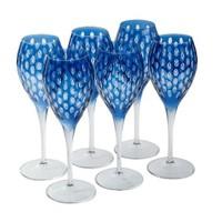 Altıncı Cadde Şarap Bardağı 6Lı Mavi