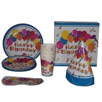 Pandoli Balonlu Happy Birthday 12 Kişilik Parti Seti Mavi Renk