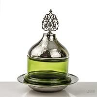 Mukko Home Osmanlı Cam Şekerlik-Gümüş Yeşil