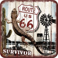 Route 66 Desert Survivor Tekli Bardak Altlığı 9 x 9 cm
