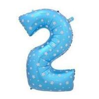 Parti Şöleni Yıldız Desenli 2 Yaş Mavi Folyo Balon