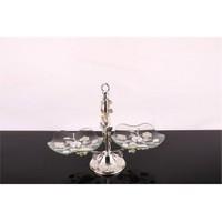 LoveQ Lux Gümüş Cam 2 Katlı Kurabiyelik 146947