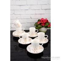 Paşahome Altn Yaldızlı Beyaz Mevlana Serisi 6 Kişilik Kahve Fincan Seti
