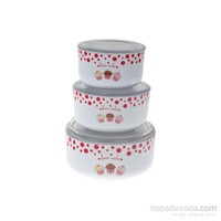 Keramika Set Saklama Kabı Kera 3 Parça Beyaz 004 Fruit Cake A