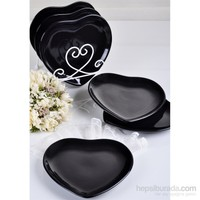 Keramika Tabak Kalp 25 Cm Siyah650