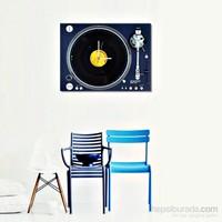 Gerçek Plaklı Pikap Görünümlü Kanvas Saat - Lacivert