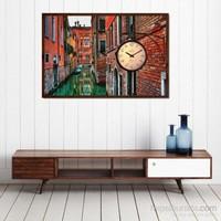 Venedik Kanalı - Çerçeveli Kanvas Saat