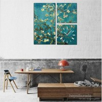 Van Gogh Badem Ağacı - 3 Parçalı Kanvas Saat