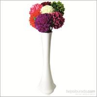7 Renk Ortanca ve Kırılmaz 60 cm Beyaz Vazo
