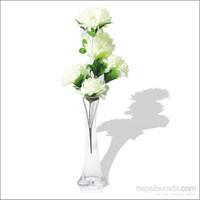 Beyaz Çiçekli Kırılmaz 40 cm Cam Vazo