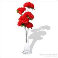 Kırmızı Çiçekli Kırılmaz 40 cm Cam Vazo