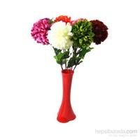 7 Renk Ortanca Kırılmaz 40 cm Kırmızı Vazo