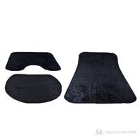 Decobella Siyah Peluş 3'Lü Klozet Takımı