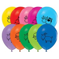 Pandoli 100 Lü Çiftlik Hayvanları Baskılı Latex Renkli Balon