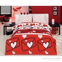 Eponj Home Kolay Ütülenir Nevresim Takımı Çift Kişilik Lovestory Kırmızı