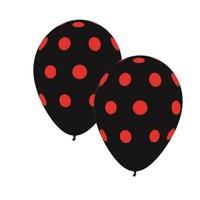 Pandoli Siyah Kırmızı Puanlı Baskılı 10 Adet Latex Balon