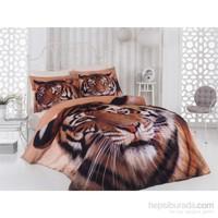 Colors Of Fashion 3D Big Cat Çift Kişilik Saten Nevresim Takımı