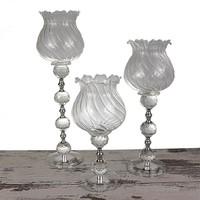 Mukko Home Lale Gümüş Kristal Şamdan - 3'Lü Set