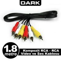 Dark 1.8 Metre Kompozit RCA - RCA Video ve Ses Kablosu (DK-CB-VCOML180)