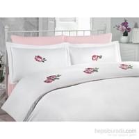 Cotton Box Çift Kişilik Nakışlı Saten Nevresim Takımı - Rose Pembe