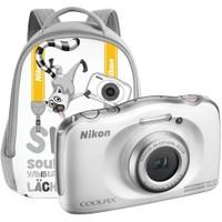 Nikon Coolpix S33 Kompakt Dijital Fotoğraf Makinesi Çanta Kit Beyaz
