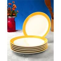 Evino 6'Lı Porselen Tatlı Tabağı - Sarı
