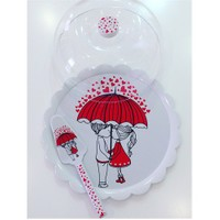 Keramika Set Fanus Kek Red Love Melamin