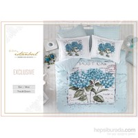 İyi Geceler İstanbul Exclusive Ranforce Çift Kişilik Nevresim Takımı Dior Mavi