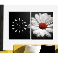 Tabloshop - Daisy 2 Parçalı Canvas Tablo Saat - 63X40cm
