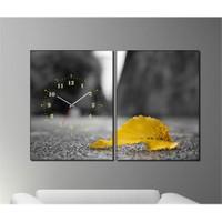 Tabloshop - Yellow Leaf 2 Parçalı Canvas Tablo Saat - 63X40cm