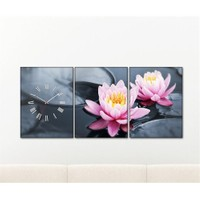 Tabloshop - Lotus 3 Parçalı Canvas Tablo Saat - 96X40cm