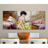 Tabloshop - Alone Women 3 Parçalı Canvas Tablo Saat - 96X40cm