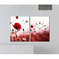 Tabloshop - Poppy 2 Parçalı Canvas Tablo Saat - 63X40cm