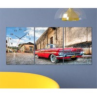 Tabloshop - Classic Car 3 Parçalı Canvas Tablo Saat - 96X40cm