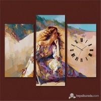 Tabloshop - Brooding Woman 3 Parçalı Simetrik Canvas Tablo Saat - 80X60cm