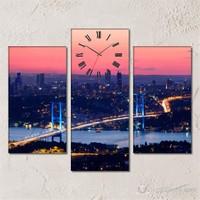 Tabloshop - İstanbul 3 Parçalı Simetrik Canvas Tablo Saat