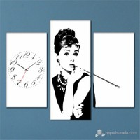 Tabloshop - Audrey Hepburn 3 Parçalı Simetrik Canvas Tablo Saat