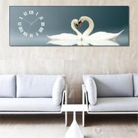 Kuğular Kanvas Tablo Saat 90X30cm