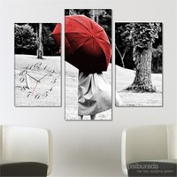 Tabloshop - Red Umbrella Tablo Saat - 81X60cm - Çerçeve Hediye