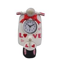 Beyaz Motorsiklet Figürlü Saat